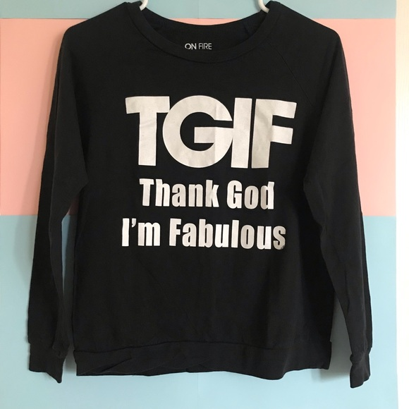 On Fire Tops - [Top] Black TGIF Long Sleeve Top